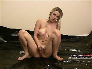 bimbo chick bathing suit platinum-blonde rolls oily tarp raw pigtails