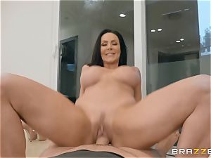 senior dark haired beauty Kendra zeal riding knob