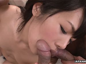japanese brown-haired rails fuckpole after deep throating 3 cocks
