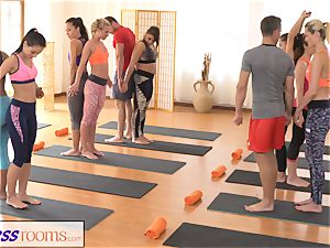 FitnessRooms gang yoga session concludes with a internal ejaculation