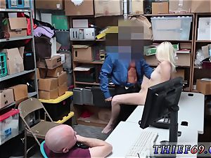 cute platinum-blonde nubile faux agent gonzo Suspect and playmate were caught by LP cop after