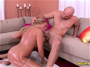 adorable blonde Payton Simmons greased up and boned