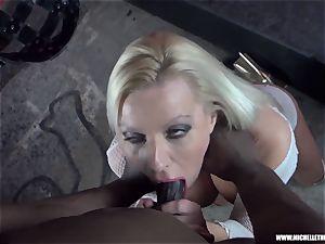 messy light-haired babe inhales boob masturbates humps yam-sized ebony pecker