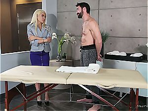 Married blond ultra-cutie getting insane by a muscular masseuse