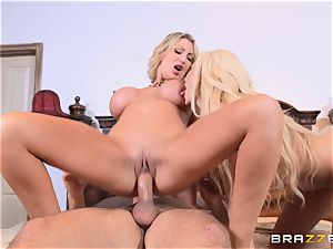 Summer Brielle and Leigh Darby sharing a gigantic hard wood
