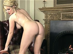 chubby titted Georgie Lyall gets naked to have fun alone