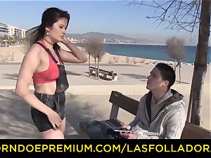 LAS FOLLADORAS - massive tits girl picked up and penetrated