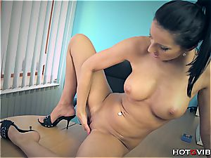 ultra-cutie at the office jacks her pink cooch to an climax