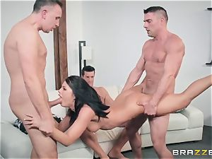 My boss's young wifey Adriana Chechik takes four hard-ons in her hole and gets covered