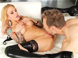 Sarah Jessie slavers over this stiff pulsating manmeat