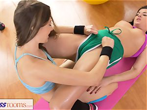 sport rooms Rampant clean-shaved labia lesbians having romp
