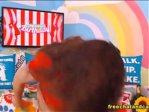 Enchanting plump dark-haired fucking partner cam showcase