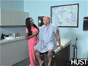 Latina nurse Sadie Santana gets both fuckholes spread