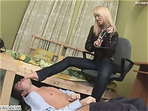 evil ash-blonde in a leather suit punishes her romp sub