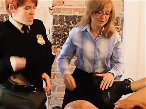 SEXYMOMMA-Ebony prison guard strap dildo ravaged in the culo