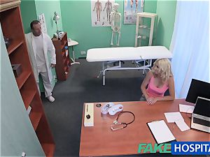 FakeHospital light-haired patient toying with her vagina