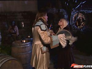 Circle of pirates witness ultra-kinky lezzies Jenaveve Jolie and Carmen Luvana eat out minge
