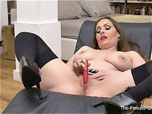 Femorg milf with enormous Naturals Solo masturbation climax