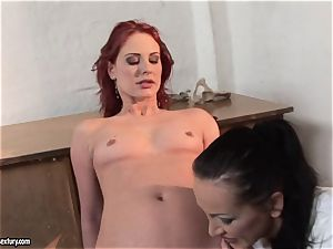 Mandy Bright nail the crimson head stunner with faux-cock