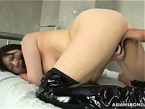 asian suffers raunchy frigging and a nip torture