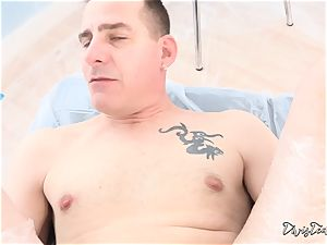 Dana mistreats her man with a ginormous faux-cock