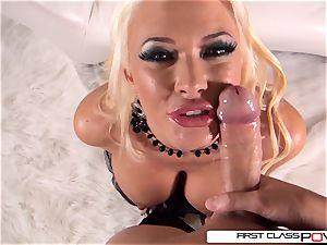 FirstClassPOV-Summer Brielle deep-throat a hefty manmeat, enormous bumpers