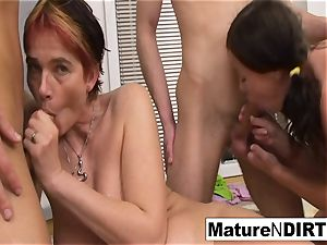 crazy mature honey gets DP'd in a 4some