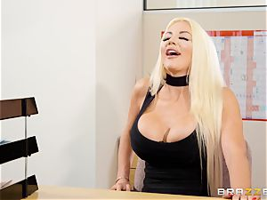 Nicolette Shea gets her concentration tested in this sizzling interview