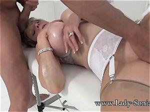 dame Sonia Mature honey oiled Up And fellating weenie