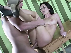 Brandi Edwards opens up her lips chubby this rigid man-meat