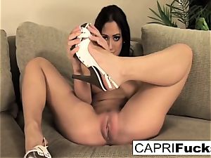 Capri plays with her vag and soles