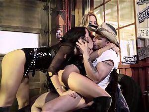 Jessica Drake and Asa Akira dunked by the same penis