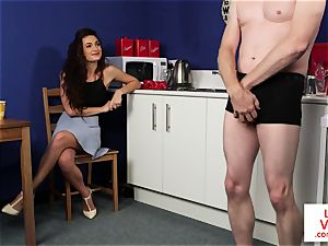 CFNM housewife instructs fellow to jerkoff