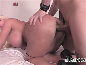meaty hooter blonde Alura Jenson tearing up a jumpy client