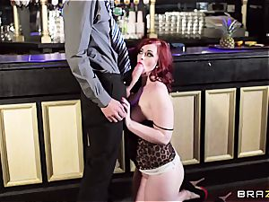 redhead Jaye Rose uses her boobies to get the job