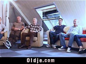 6 oldman plowing in gang a luxurious scorching ash-blonde