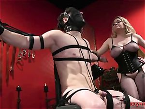 big-titted towheaded mistress Gives Her marionette a hand job