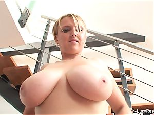 big-chested milf exercising