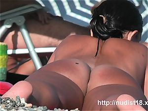 nudist beach two cool brunettes