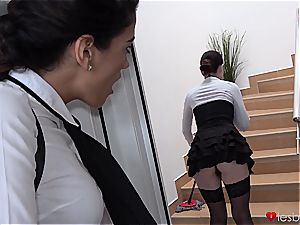 Dyked maid shifts super-fucking-hot college girl muff on her huge strap-on