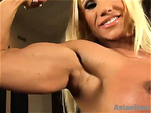 Buff ash-blonde wedges gigantic glass faux-cock in her cooch