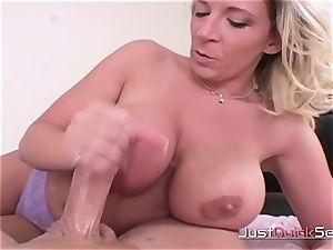 blond big-titted cougar Gives impressive handjob