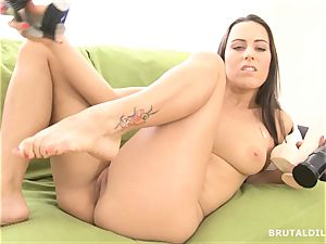 wonderful dark-haired widely opened her rosy gash with hefty fake penises