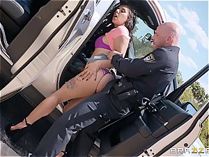 Gina Valentina gets pulled over by a police officer