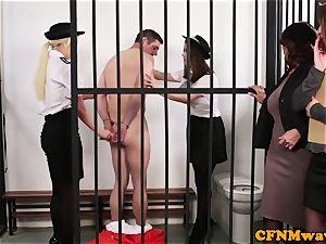CFNM police female dom masturbating off prisoner