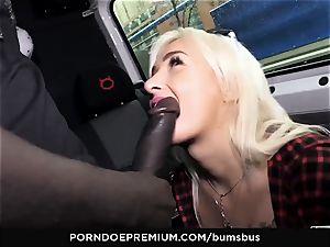 arses BUS - blonde hottie gets jism on mounds in car smash