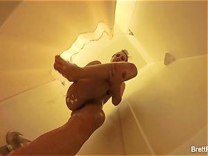 fantastic light-haired Brett Rossi takes a nice bathroom