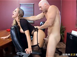 steaming chief Nicole Aniston taking a hefty pink cigar in the office