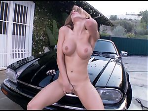 Randy Alexa Nicole torments her dribbling pantie pot
