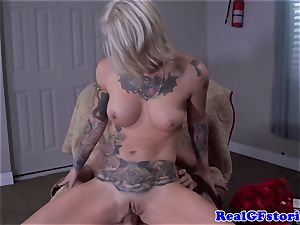 Tattood real blondie mummy humped in backside
